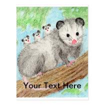 Opossum Mom Postcard