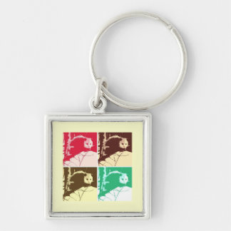 Opossum Pop Art Silver-Colored Square Keychain