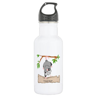 Opossum with sign 18oz water bottle