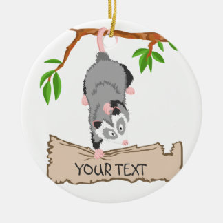 Opossum with sign Double-Sided ceramic round christmas ornament