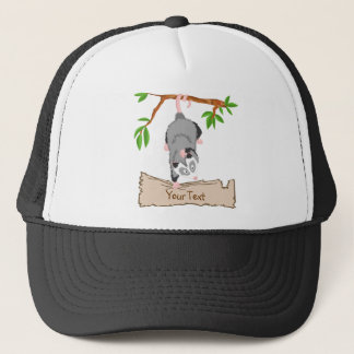 Opossum with sign trucker hat