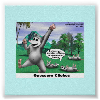 OPossums Playing Dead Cartoon Funny Poster