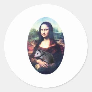 Oposum de Mona Lisa Pegatinas Redondas