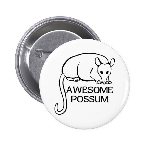Oposum impresionante pin redondo 5 cm