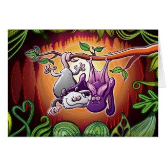 Oposum y palo en amor tarjeta de felicitación