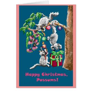¡Oposums de las felices Navidad! Tarjeta de