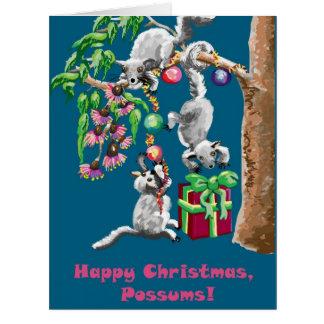 ¡Oposums de las felices Navidad! Tarjeta De Felicitación Grande