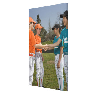 Opponents shaking hands canvas print