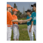 Opponents shaking hands postcard
