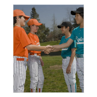Opponents shaking hands poster