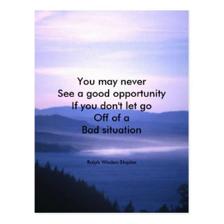 Opportunities and bad situation postcard