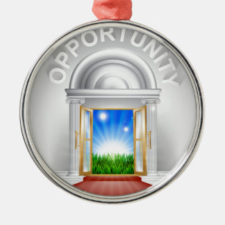 Opportunity Door Concept Round Metal Christmas Ornament