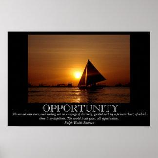 Opportunity Sunset Sailboat Motivational Poster