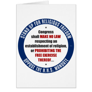 Oppose The HHS Mandate Greeting Cards