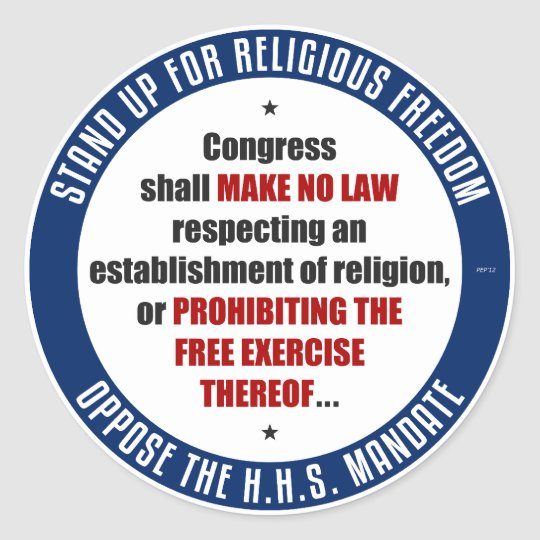 Oppose The HHS Mandate Classic Round Sticker