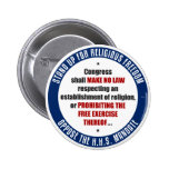 Oppose The HHS Mandate Pinback Buttons