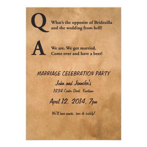 Opposite of Bridezilla Marriage Party Custom Invite