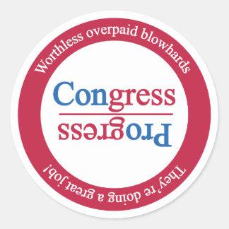 Opposite of Progress is Congress: Rotate Classic Round Sticker