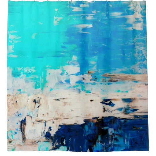 Opposite Turquoise Abstract Art Shower Curtain