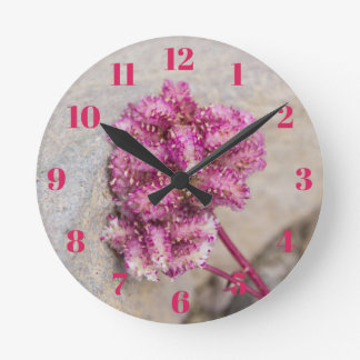 Opposites Attract Cat's Paws Flower and Stone Round Clock