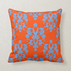 Opposites Attract Orange and Blue Damask Pillows