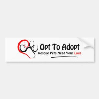 Opte adoptar pegatina de parachoque
