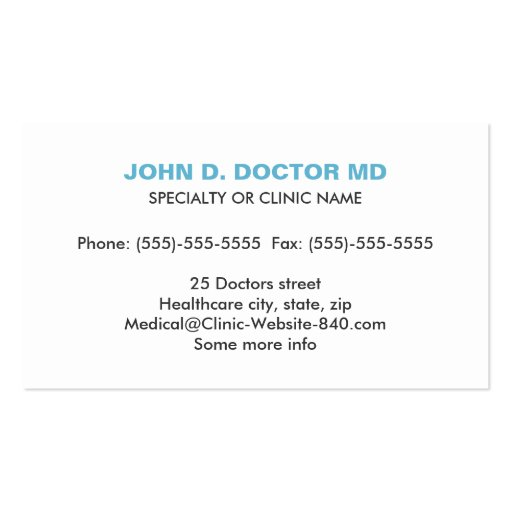 Opthamologist or optometrist gray business card (back side)