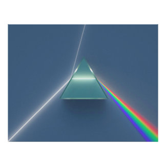 Optic Prism Refracting and Reflecting Light Poster
