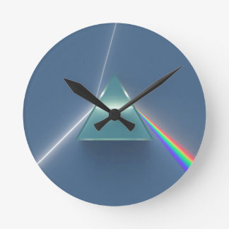 Optic Prism Refracting and Reflecting Light Round Clock