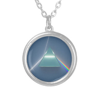 Optic Prism Refracting and Reflecting Light Round Pendant Necklace