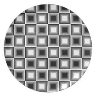 Optical 3D Chessboard Illusion Black White Grey Dinner Plate