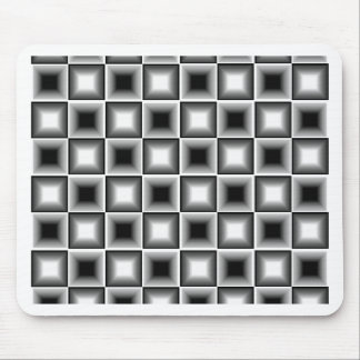 Optical 3D Chessboard Illusion Black White Grey Mouse Pad