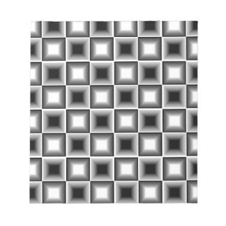 Optical 3D Chessboard Illusion Black White Grey Notepads