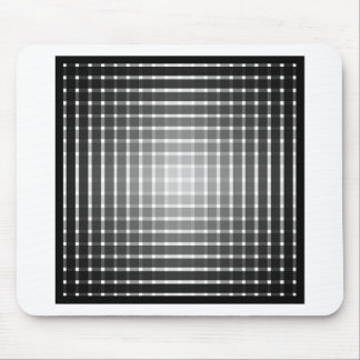 Optical art grid in black and grey with white dots mouse pad