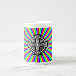 Optical Celtic Cross Bone China Mug