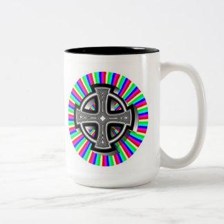 Optical Celtic Cross Two-Tone Mug
