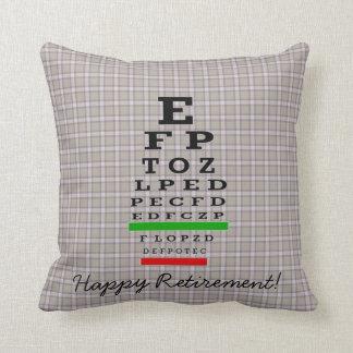 Optical Chart Retirement Brown Throw Pillow