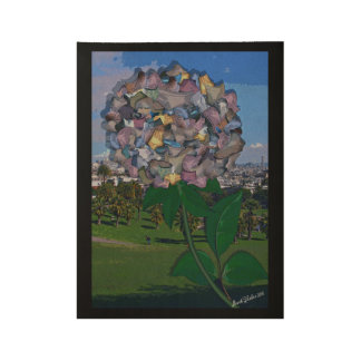 Optical Illusion:  A Flower Grows in Dolores Park Wood Poster