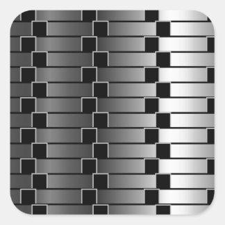 Optical illusion against metallic gradient square sticker
