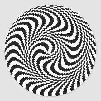 Optical Illusion Block Spiral Classic Round Sticker