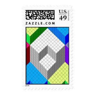 Optical illusion blocks repetitive design postage stamp