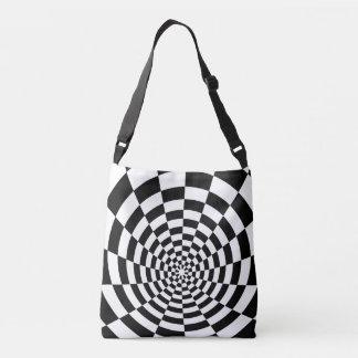 Optical Illusion checkered spatial pattern Crossbody Bag
