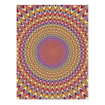 Optical Illusion Circle Hypnotic Rainbow Colorful Postcard