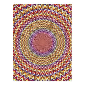 Optical Illusion Circle Hypnotic Rainbow Colorful Postcard