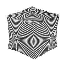 Optical Illusion Circles Black and White Pouf