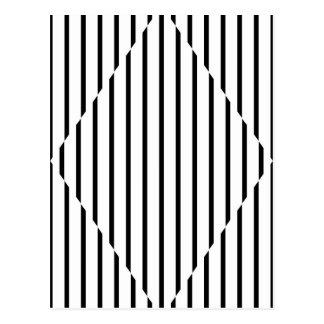 Optical Illusion Diamond Lines Black White Postcard