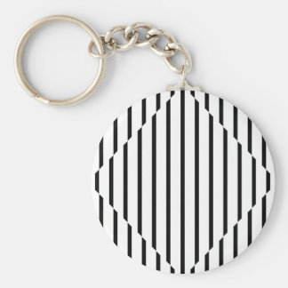 Optical Illusion Diamond Lines Black White Square Key Chains