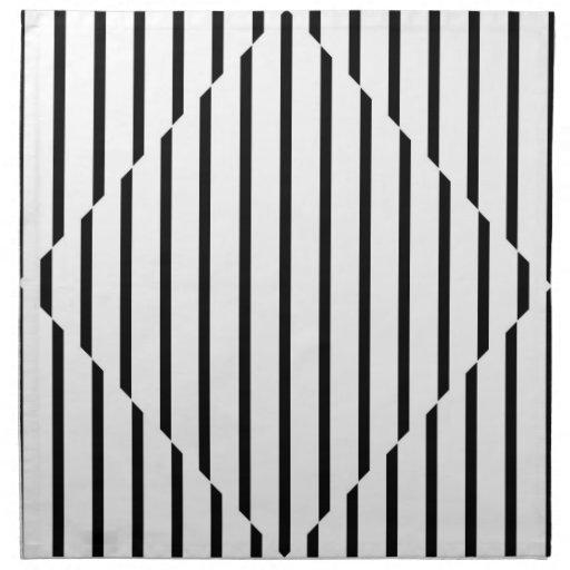 Optical Illusion Diamond Lines Black White Square Printed Napkins