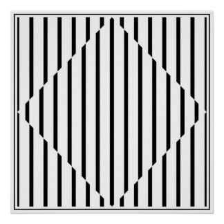 Optical Illusion Diamond Lines Black White Square Poster