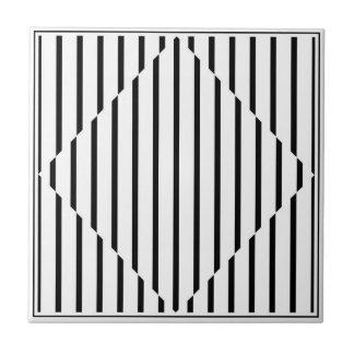 Optical Illusion Diamond Lines Black White Square Tile